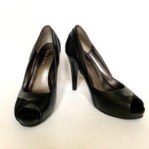 Nine West Black Leather & Suede Peep Toe Pumps